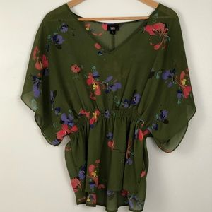 Sheer Olive Green Blouse w Floral Print